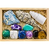 Premium Grade Crystals and Healing Stones for Relaxation, Stress, Anxiety Relief, Sleep in Wooden Box - Amethyst, Lepidolite,
