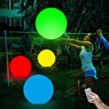 LONYKIBEE Pool Toys Glow 16'' Beach Ball 13 Colors Changing LED Light Up Floating Inflatable with Remote Glow in The Dark Hom