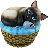 World Of Wonders - Meow and Forever Series - Kitten Keeper - Collectible Siamese Kitty Cat with Mouse Toy Decorative Trinket