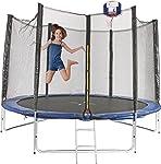 2.4m 8ft Round Trampoline FREE Basketball Set Safety Net Spring Pad Cover Ladder New Enclosure Mat Kids