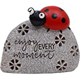 TERESA'S COLLECTIONS 5.1 Inch Ladybug On Stone Garden Statues, Enjoy Every Moment Fairy Garden Figurine with Solar Powered Ga