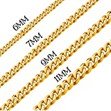 Men Chunky Miami Curb Cuban Chain Necklace 18k Real Gold Plated Stainless Steel Link Necklace for Men Women 6mm to 11mm 16 In