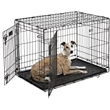 Dog Crate 1536DDU | Midwest ICrate 36 Inches Double Door Folding Metal Dog Crate w/Divider Panel, Floor Protecting Feet & Lea