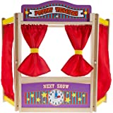 Wooden Tabletop Puppet Theater with Curtains, Blackboard, and Clock- Inspires Imagination and Creativity for Kids, Boys and G