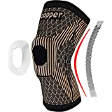 Copper Knee Brace with Patella Gel Pads and Double-Sided Spring Stabilizers- Knee Compression Sleeve for Arthritis Pain and S