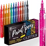 Glitter Paint Pens for Rock Painting, Scrapbook Journals, Photo Albums, Card Stocks, Paper Project, Coloring. Set of 12 Acryl