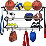 Lynk Sports Rack with Adjustable Hooks - Sports Equipment Organizer - Sports Gear Storage