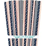 Outside the Box Papers Pink and Navy Blue Chevron and Stripe Paper Straws 7.75 Inches 100 Pack Pink, Navy Blue, White