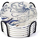 LIFVER Coasters for Drinks, Octopus Style Absorbent Coasters with Holder, Prevent Furniture from Dirty and Scratched, Suitabl