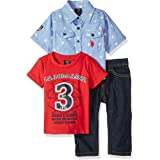 U.S. POLO ASSN. Baby Boy's Short Sleeve Shirt, T-Shirt and Pant Set Pants