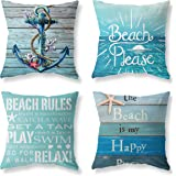 """Joyceoo Nautical Wood Beach Rules Quote Holiday Blue Wood Grain Marine Theme Throw Pillow Covers 18""""x18"""" Outdoor Bench Decora"""