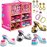 Play22 Girls Dress Up Shoes and Jewelry Boutique 18 Set - Glamorous Princess Dress Up Accessory Set