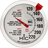 HIC Roasting Meat Poultry Ham Turkey Grill Thermometer, Oven Safe, Large 2-Inch Easy-Read Face, Stainless Steel Stem and Hous