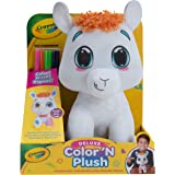 """Crayola Deluxe Color 'N Plush Llama, 10"""" Stuffed Animal - Draw, Wash, Reuse – with 2 Ultra-Clean Washable Fine Line Markers,"""