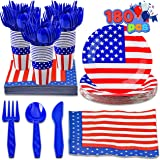 JOYIN 180 Pcs Patriotic Party Dinnerware Set for 4th of July Celebration, Independence Day Gathering, Memorial Day Commemorat