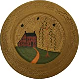 CVHOMEDECO. Primitive Country House Willow Tree Footpath Wood Decorative Plate Round Crackled Display Wooden Plate Home Décor