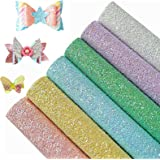 AUXIN 6 pcs A4 Size Chunky Glitter Sequin Faux Leather Sheets for DIY Bows Earrings,Gorgeous PU Fabric Synthetic Craft Sheets