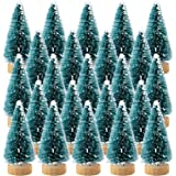 Etmact 24pcs Mini Pine Trees Sisal Trees with Wood Base Christmas Tree Set for Crafting Displaying and Decoration
