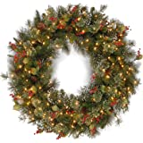 National Tree WP1-300-30W-1 Wintry Pine Wreath with Cones Red Berries Snowflakes and 100 Clear Lights, PVC, Green, 36 - Inch