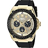 GUESS Black Gold-Tone Glitz Stain Resistant Silicone Watch with Day, Date + 24 Hour Military/Int'l Time. Color: Black (Model: