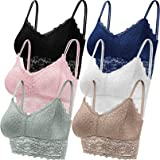 Duufin 6 Pieces Lace Bralettes for Women with Straps and Removable Pads