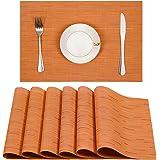 Placemats, U'Artlines Heat-resistant Placemats Stain Resistant Anti-skid Washable PVC Table Mats Woven Vinyl Placemats, Set o