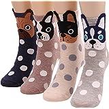 4 Pairs Women Casual Cotton Crew Socks Cute Animal Dog Pattern Ankle Socks 5-9 S11
