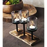 Elegant, Decorative Votive Candle holder Centrepiece, 3 Glass Votive cups On Wood Base/ Tray For Wedding Decoration Dining Ta