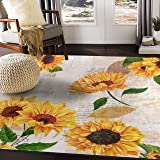 ALAZA Vintage Sunflower Butterfly Oil Painting Artwork Area Rug Rugs for Living Room Bedroom 7' x 5'