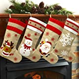 """LucaSng 2020 New Christmas Stockings 4 Pack for Family 19"""" Large Burlap Cartoon Xmas Stocking for Home Décor Rustic Farmhouse"""