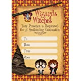 Harry Potter Invitation Cards – 25 Fill-in Invites for Kids Birthday Bash and Theme Party, 10X15 cm, Postcard Style