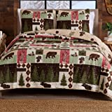Great Bay Home 3-Piece Reversible Rustic Lodge Bedspread Full/Queen Size Quilt with 2 Shams. All-Season Quilt Set. Wilder Col
