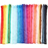 #3 Nylon Coil Zippers for Sewing, 50 Colors (18 Inches, 100 Pieces)