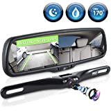Pyle Backup Car Camera & Rear View Mirror Monitor Screen System with Parking & Reverse Safety Distance Scale Lines, Waterproo