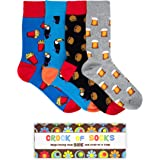 Novelty Gift Box Set of 4 Funny Socks for Men, Funky, Groovy, Crazy and Silly in Bright Colours and Fun Graphic Patterns - Gr