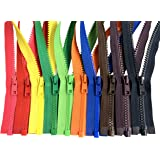 Assorted Colors Ykk #5 Vislon Separating Jacket Zippers for Sewing Coat Jacket - Plastic Zippers Bulk 5 or 10 Colors Mixed (2