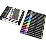 TOOLI-ART 16 Glitter Paint Pens Assorted Colors Set 0.7mm Extra Fine Tip for Rock, Canvas, Mugs, Most Surfaces. Non Toxic, Wa