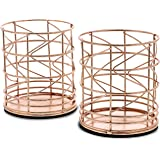 Rose Gold Pencil Holder - 2-Pack Metal Wire Makeup Brush Organizer for Home, School, Office Desk Supplies, 3.6 x 3.6 x 4.1 in