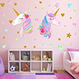 2 Sheets Large Size Unicorn Wall Decor,Removable Unicorn Wall Decals Stickers Decor for Gilrs Kids Bedroom Nursery Birthday P