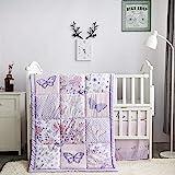 La Premura Butterfly Baby Nursery Crib Bedding Set for Girls – Butterfly 3 Piece Standard Size Crib Bedding Sets in Pastel Pi