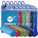 """YQXCC Cooling Towel 4 Packs (47""""x12"""") Microfiber Towel Yoga Towel for Men or Women Ice Cold Towels for Yoga Gym Travel Campin"""