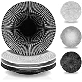 MARSTRACE 8.25 Inch Creative Porcelain Dinner Plates Set of 4,Black and White Multiple Stripes Patterns Ceramic Desserts Plat