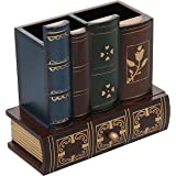 Decorative Library Books Design Wooden Office Supply Caddy Pencil Holder Organizer with Bottom Drawer