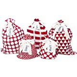 """Appleby Lane 100% Cotton Gift Bags (Standard Set, Red), Set of 5 Bags: Three 16""""x12"""" and Two 10""""x8"""""""