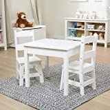 Melissa & Doug Solid Wood Table & Chairs (Sturdy Wooden Construction, 100-Pound Capacity, Easy to Assemble, 3-Piece Set, 20""