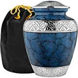 Heavenly Peace Lovely Dark Blue Adult Cremation Urn For Human Ashes - This Beautiful Large Urn is Perfect to Honor Your Loved