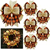 6 Pieces Burlap Wreaths Bows Plaid Burlap Bows Double Layed Bows Christmas Tree Topper Bows for Home Front Door Holiday Weddi