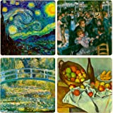 CoasterStone AS9565 Impressionists Collection Absorbent Coasters, 4-1/4-Inch, Set of 4