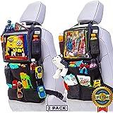 "Quint Essence Heavy Duty Car Seat Organizer, Adjustable XL 12.9"" Clear Touchscreen Tablet Holder, 11 Storage Pockets Kick Mat"
