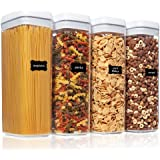 Airtight Food Storage Containers, Vtopmart 4 Pieces Large BPA Free Plastic Spaghetti Containers with Easy Lock Lids, for Kitc